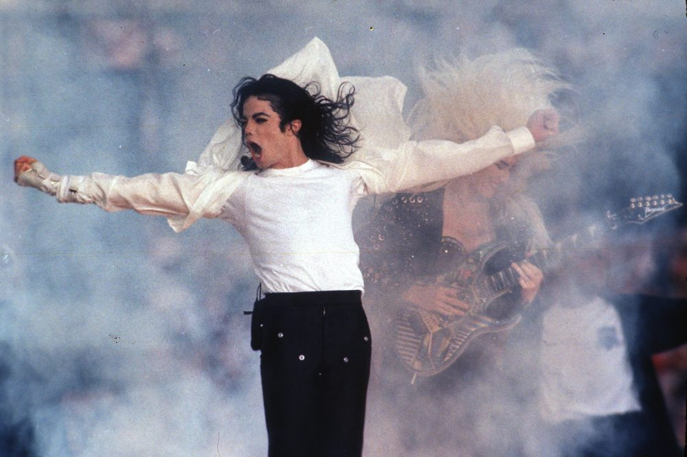 Michael Jackson performs during the halftime show in 1993 at the Super Bowl in Pasadena, Calif.