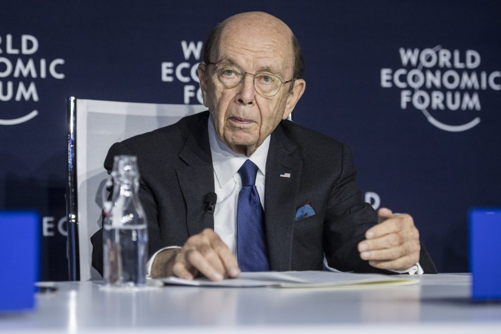 Commerce Secretary Wilbur Ross speaks at a press conference Wednesday during the World Economic Forum in Davos, Switzerland. Ross suggested Thursday that a viral outbreak in China could offer an upside to the U.S. economy by encouraging manufacturers to move back to the U.S.