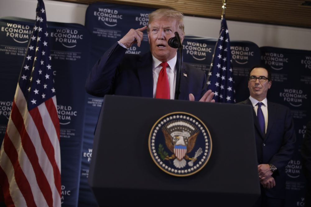 US President Donald Trump speaks during a news conference at the World Economic Forum in Davos, Switzerland, Wednesday, Jan. 22, 2020.