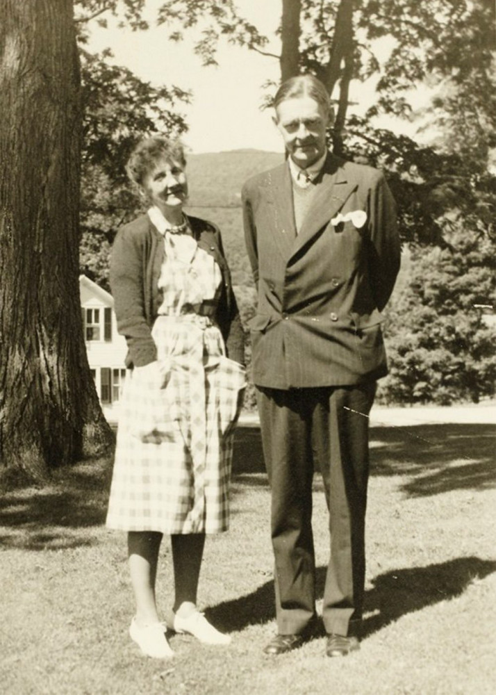 Emily Hale and T.S. Eliot pose in a 1946 family photo in Dorset, Vermont.
