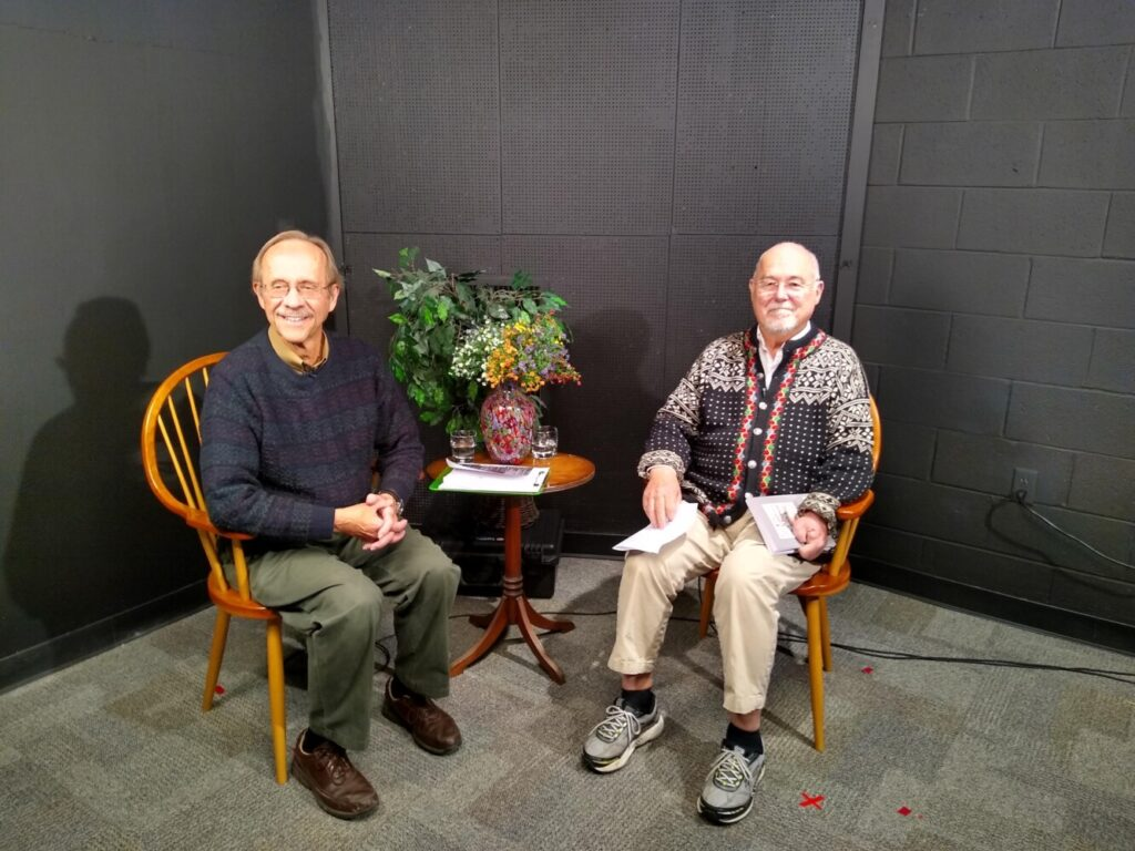 "Host Rob Lively, left, interviews Tony Perry, author of ""State of Maine. State of Mind. Upcountry Humor and Stories,"" at a taping of ""Telling Tales: Western Maine's Storyplace"" by Mt. Blue TV."