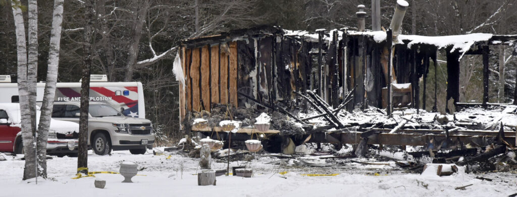 Investigators with the Office of the State Fire Marshal brought a command vehicle, left, to investigate a mobile home fire on Alley Lane in Troy on Monday. Investigators searched and spread out remains of the home for evidence of the cause of the fire. The fire destroyed the home late Friday evening. The property has reportedly been the scene of two other home fires.