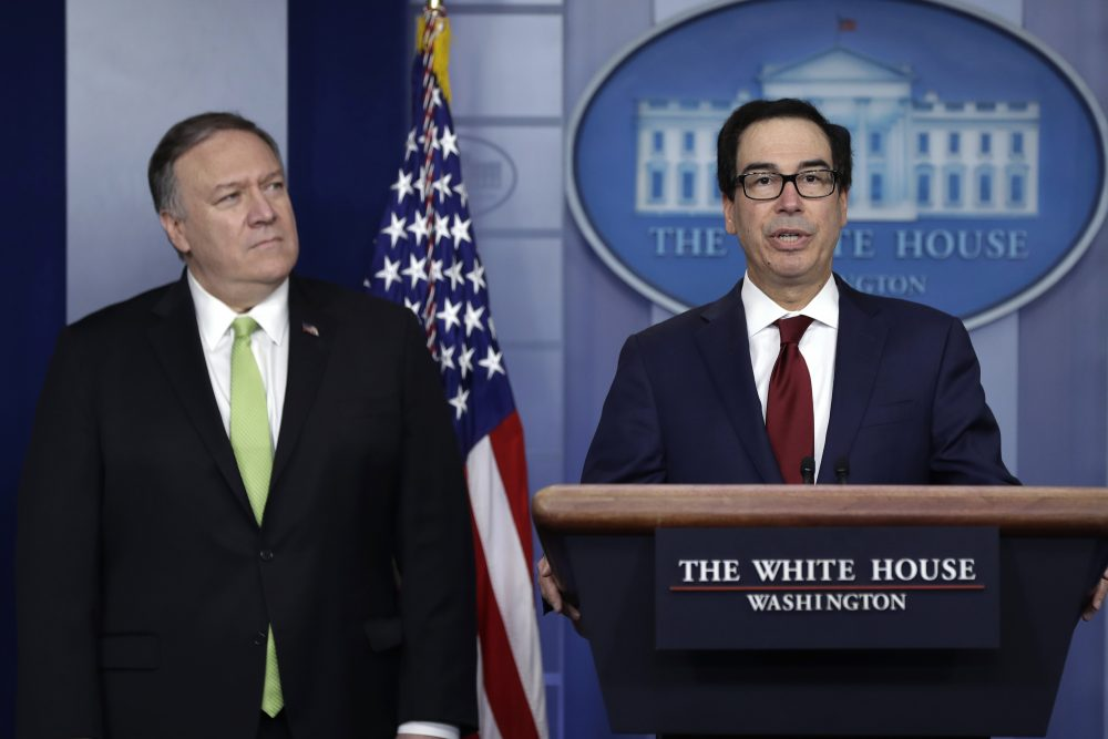 Secretary of State Mike Pompeo and Treasury Secretary Steve Mnuchin announce additional sanctions placed on Iran, at the White House on Friday.