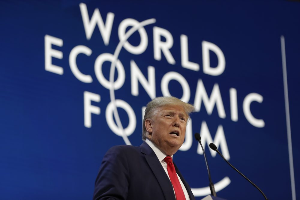 President Trump delivers the opening remarks at the World Economic Forum on Tuesday in Davos, Switzerland. During his speech, Trump repeatedly praised himself, saying he rescued the American manufacturing industry and took credit for additional funding that has been approved for historically black colleges and universities.