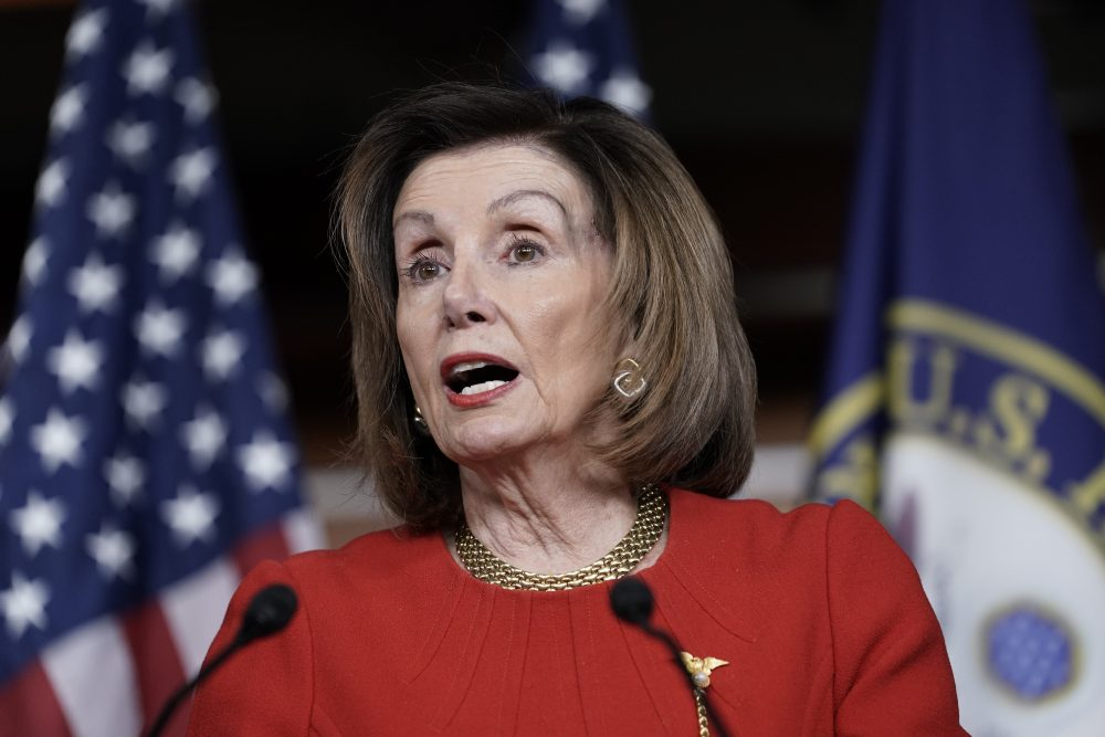 House Speaker Nancy Pelosi, D-Calif., meets with reporters Dec. 19 at the Capitol in Washington, on the day after the House of Representatives voted to impeach President Trump on two charges, abuse of power and obstruction of Congress.