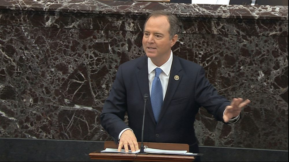 In this image from video, House impeachment manager Rep. Adam Schiff, D-Calif., speaks during the impeachment trial against President Trump in the Senate at the U.S. Capitol in Washington on Thursday.