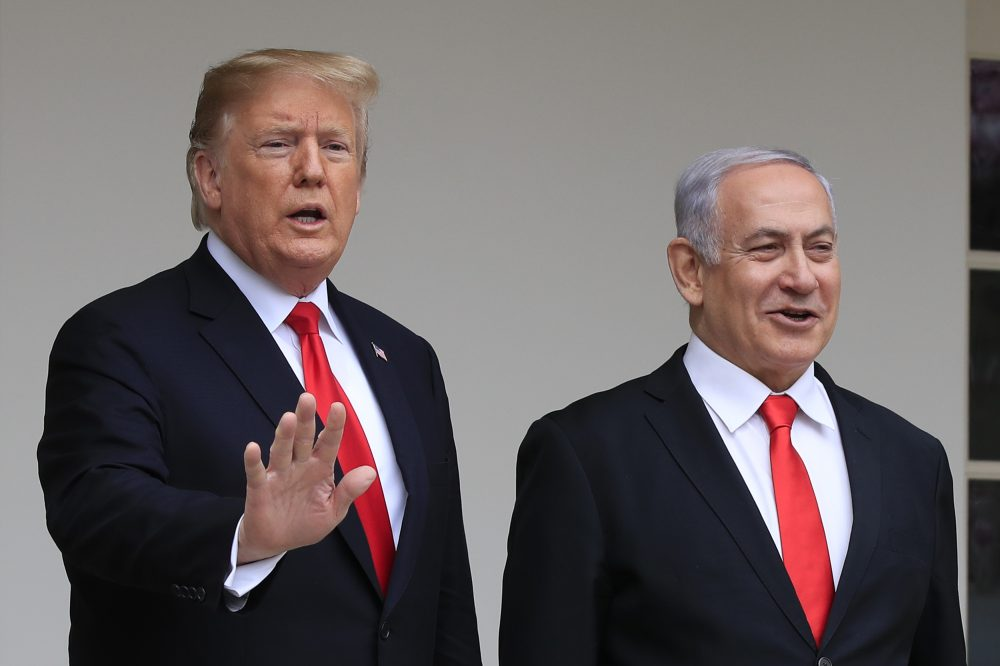 In this March 25, 2019, file photo, President Donald Trump welcomes visiting Israeli Prime Minister Benjamin Netanyahu to the White House in Washington.