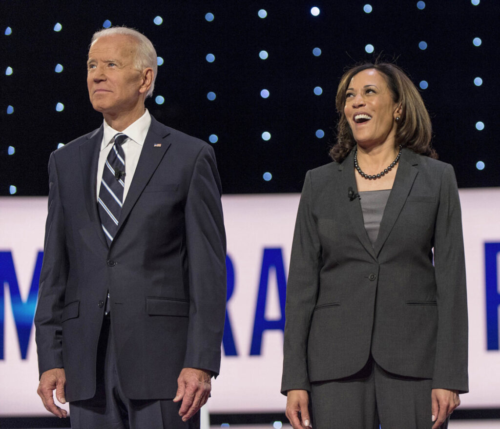 "Joe Biden and Kamala Harris at the second of two Democratic debates in Detroit last year. The former vice president told The Bee's California Nation podcast that Harris is ""qualified to be president, and I'd consider her for anything that she would be interested in."""