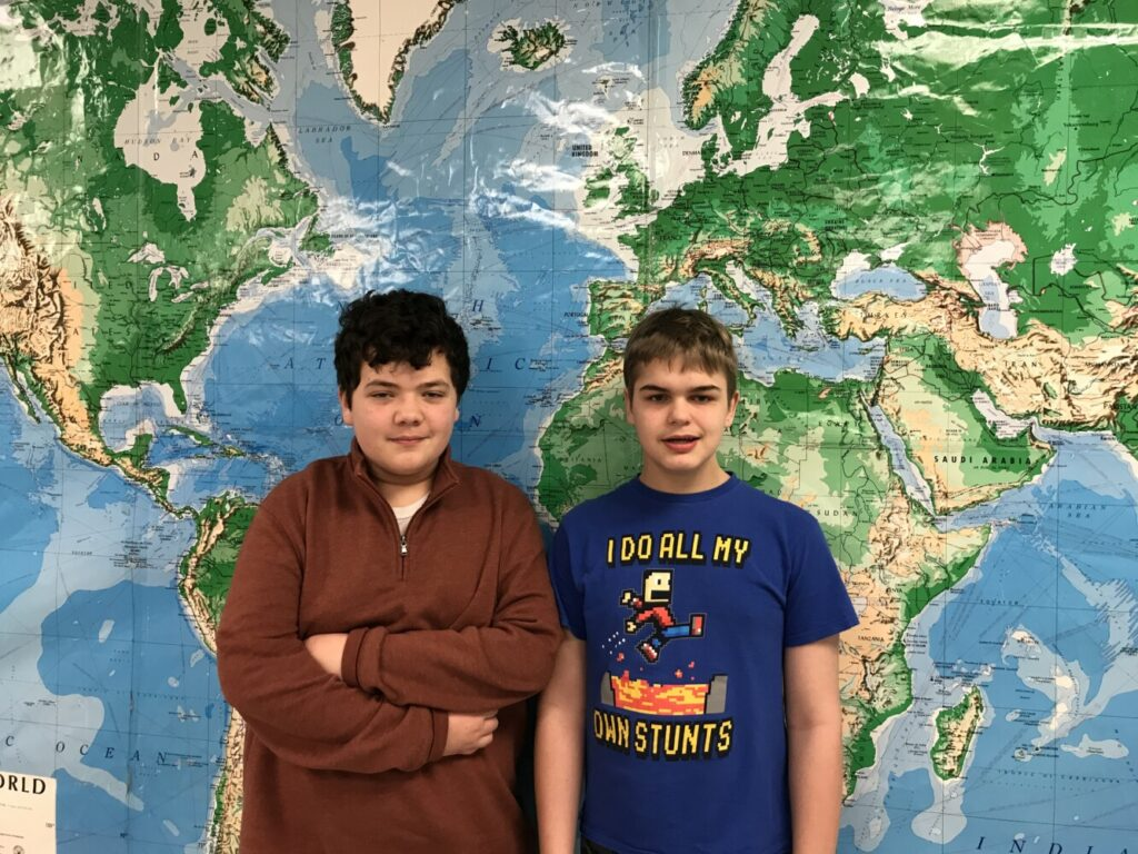 Eighth-graders Owen Libby, left, and Nick Tibbetts. Libby was named champion of the annual Geography Bee at Waterville Junior High School. Tibbetts was runner-up.
