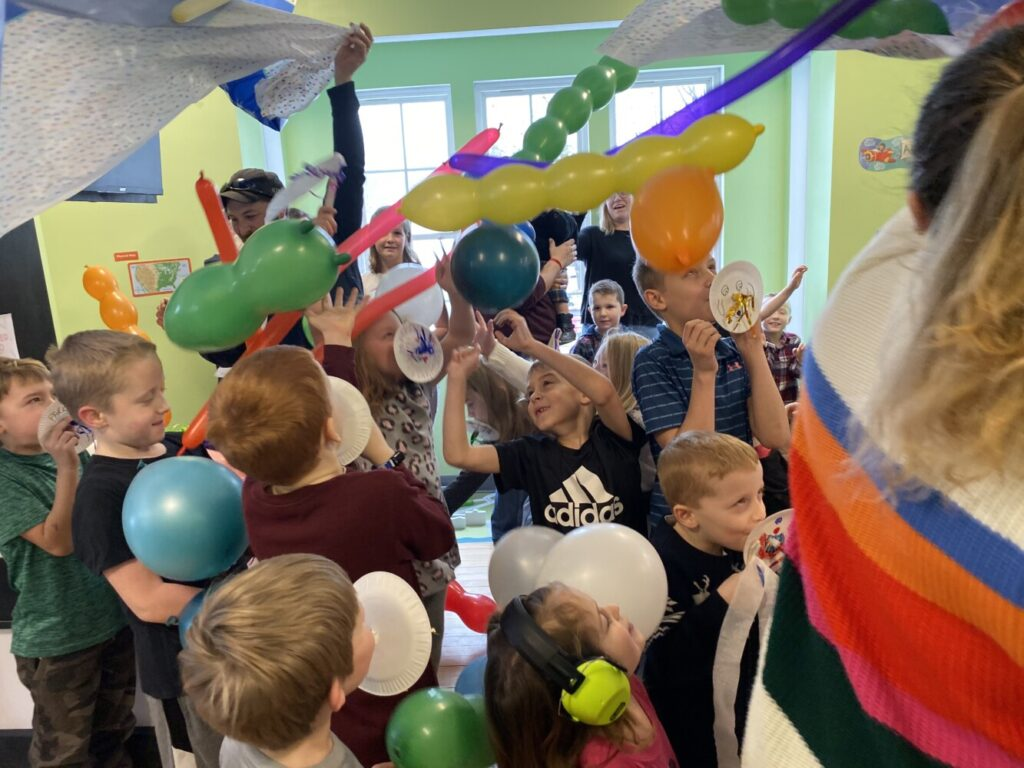 The Western Maine Play Museum held a Noon Year's Eve celebration at the museum in Wilton. Those who attended celebrated during the balloon drop that took place at noon after a countdown.