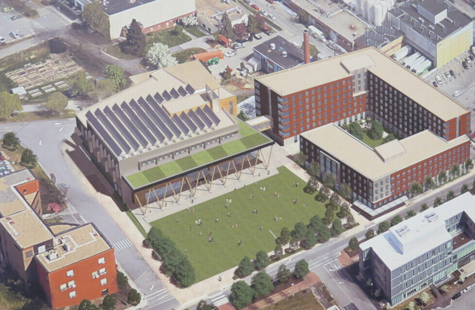 USM wants to build a student success/career center, shown in this rendering in the middle, and a 550-bed residence hall, upper right, on its Portland campus. At left is the existing Luther Bonney Hall.