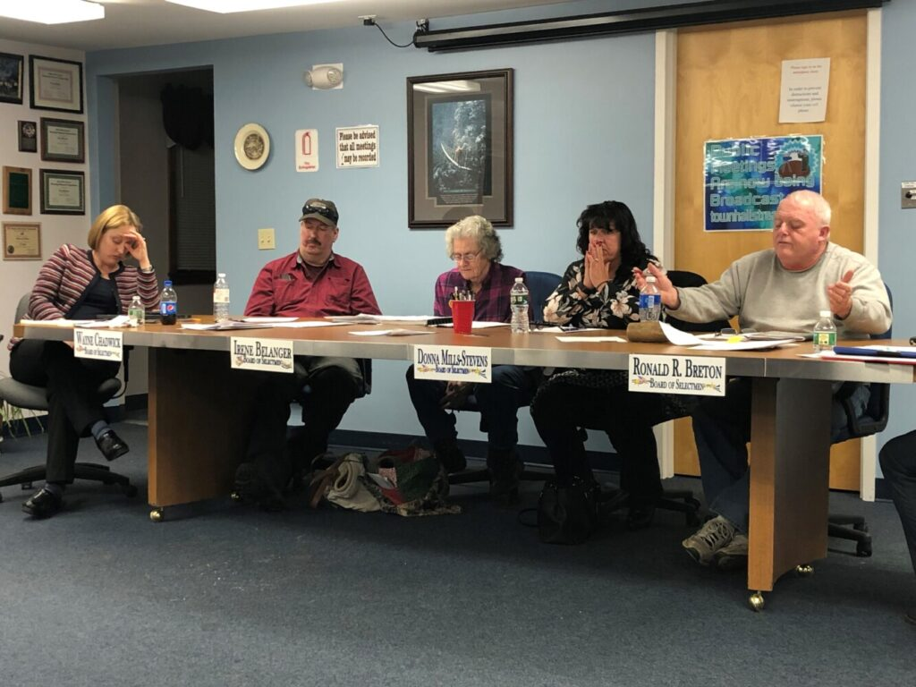 From left, China's town attorney Amanda Meader, and selectmen Wayne Chadwick, Irene Belanger, Donna Mills-Stevens and Chairman Ronald Breton discuss conflicts of interest at a Select Board meeting Tuesday night.