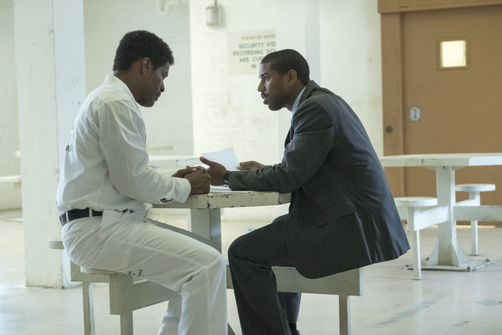 "Jamie Foxx, left, as Walter McMillian and Michael B. Jordan as Bryan Stevenson in Warner Bros. Pictures' drama ""Just Mercy."""
