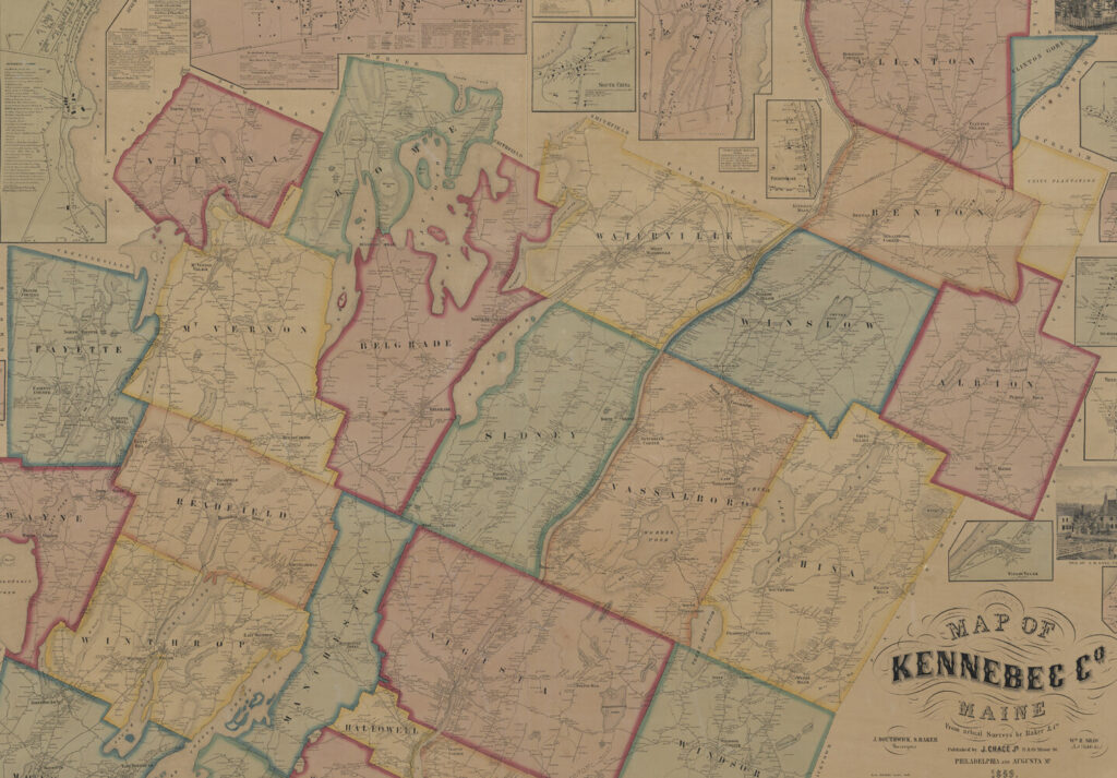 Map of Kennebec Co. Maine from actual surveys by Baker & Co., 1856