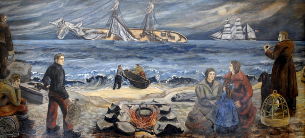 """Shipwreck at Night,"" a mural depicting the wreck of the steamer Bohemian was painted for the wall South Portland Post Office by Alzira Peirce as part of a WPA project in 1939."