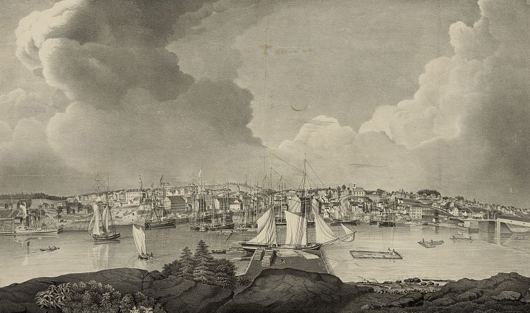 View of the City of Bangor from a drawing by A. H. Wallace; Lane, Fitz Henry, lithographer, 1835