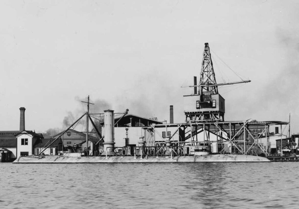 The USS Katahdin, a steel armored harbor defense ram, fitting out circa 1893-1895 at Bath Iron Works.