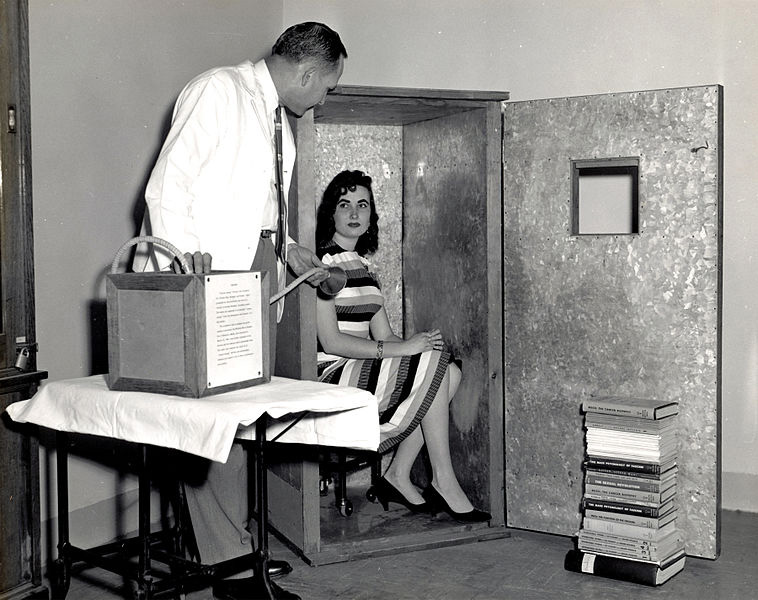 An orgone energy accumulator. Psychiatrist Wilhelm Reich declared the existence of a universal healing and revitalizing force, called orgone.