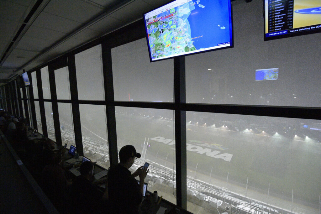 A downpour, as viewed from the press box, forces a postponement of the Daytona 500 on Sunday in in Daytona Beach, Fla.