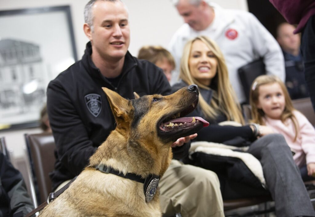 Jagger, a Wells police dog with a terminal cancer diagnosis, sits in on a town hall meeting Tuesday with Capt. Kevin Chabot, his wife, Keri, and their daughter, Olivia, 5. Jagger was awarded retirement and recognized for over six years of service.