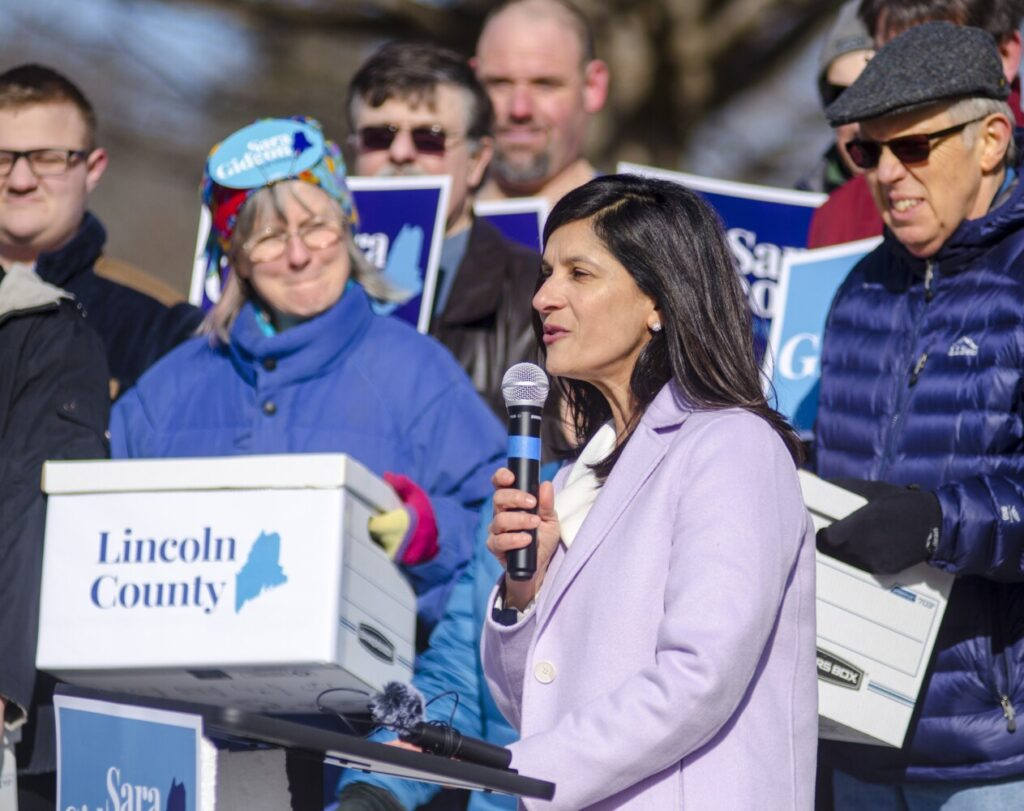 Maine Speaker of the House Sara Gideon, D-Freeport, tells supporters and the media that her campaign has collected about 3,000 signatures to qualify for the U.S. Senate primary race ballot, during an event on Wednesday outside the Maine State House in Augusta.