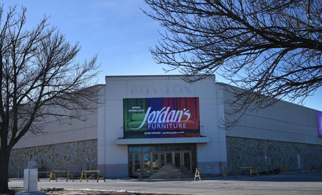 A sign at The Maine Mall announces that Jordan's Furniture is coming to the South Portland retail hub. Jordan's plans to hire 150 workers and open the store late this spring.