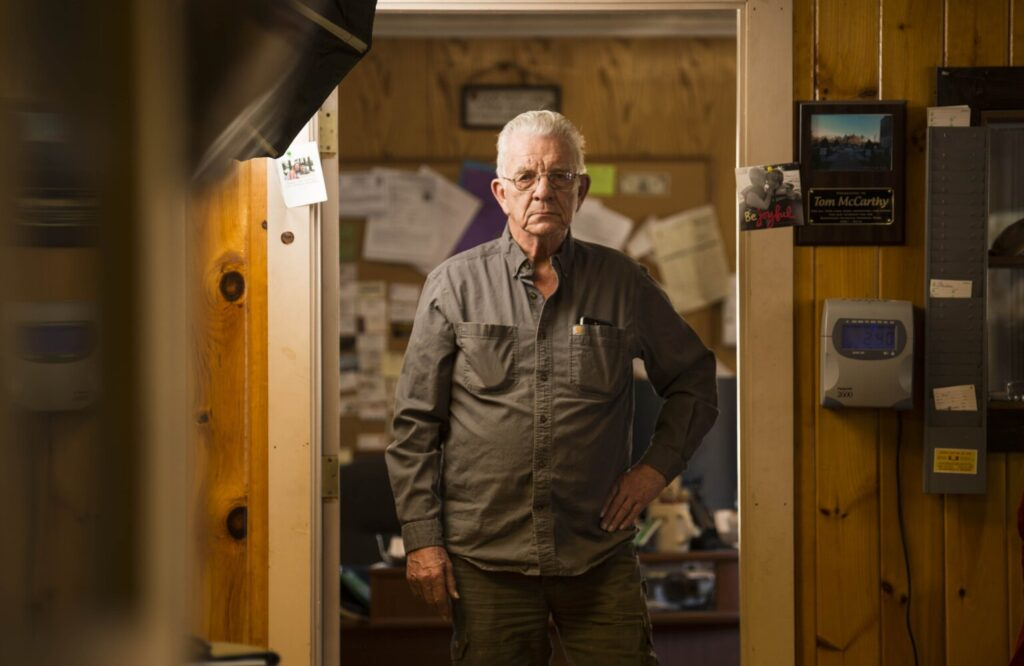 Tom McCarthy poses Thursday for a portrait at his place of business, McCarthy Enterprises on North Avenue in Skowhegan.