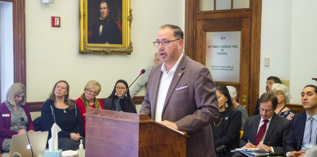 Penobscot Nation Chief Kirk Francis testifies Wednesday during a joint session of the Judiciary and the Legal and Veterans Affairs committees at the Maine State House in Augusta.