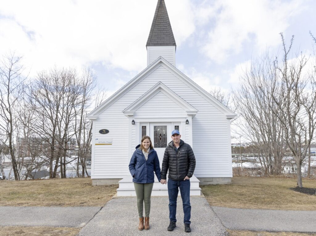Kimberly Kowalski and Jameson Buck pose outside the All-Faiths Chapel at Southern Maine Community College on Friday, the day before their wedding. Their first date was on Leap Day in 2016, so they decided to tie the knot in small ceremony at the chapel on Leap Day this year.