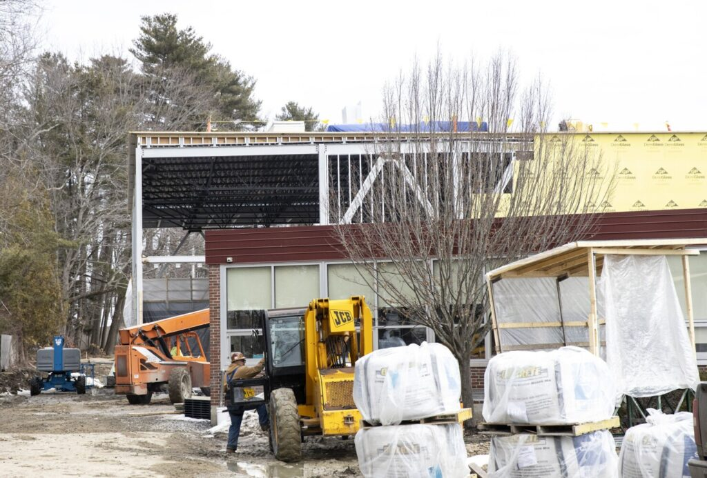 Construction continues at Harrison Lyseth Elementary School on Tuesday.