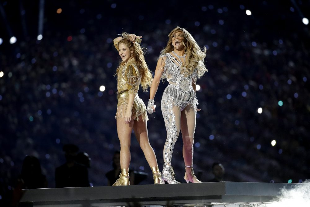 Shakira, left, and Jennifer Lopez perform during halftime of the NFL Super Bowl 54 football game between the Kansas City Chiefs and the San Francisco 49ers Sunday.