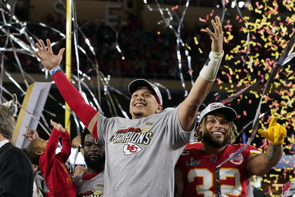 Kansas City Chiefs' Patrick Mahomes, left, and Tyrann Mathieu celebrate after defeating the San Francisco 49ers in the NFL Super Bowl 54 football game Sunday.