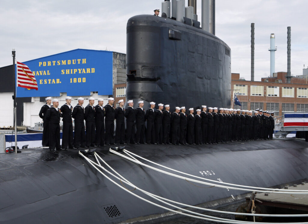 Sailors line the deck during the commissioning of the USS New Hampshire, a Virginia-class nuclear submarine, at the Portsmouth Naval Shipyard, in Kittery on Oct. 25, 2008. The Connecticut congressional delegation is pushing back against a Trump budget recommendation to fund only a single submarine in the proposed new budget.