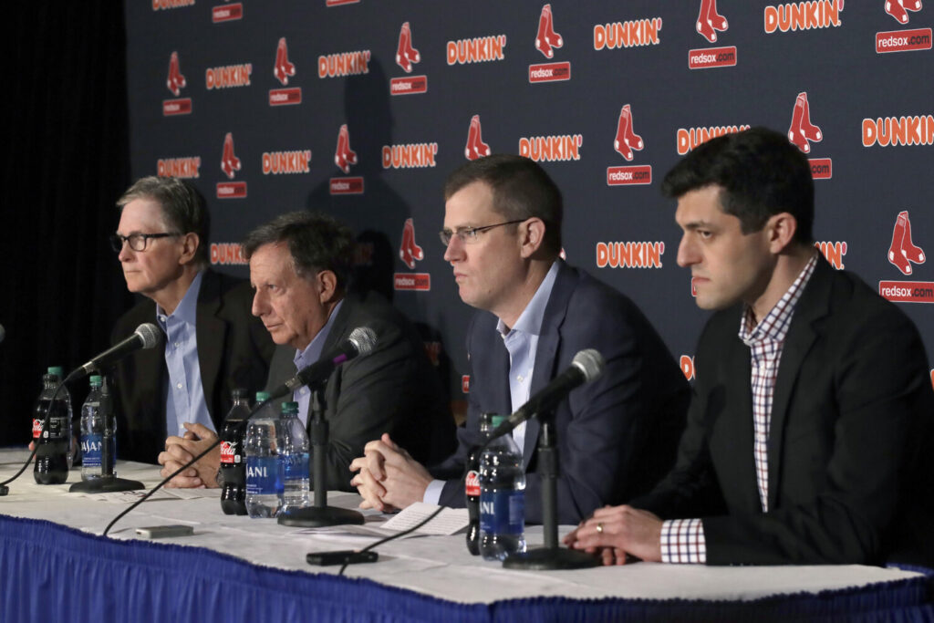 It has been quite an offseason for Boston Red Sox management, from left, owner John Henry, chairman Tom Werner, CEO Sam Kennedy and Chief Baseball Officer Chaim Bloom. The team parted ways with Alex Cora, is being investigated for sign stealing and is trying to workout a deal with the Dodgers to trade former MVP Mookie Betts, though that appears to be on the ropes.