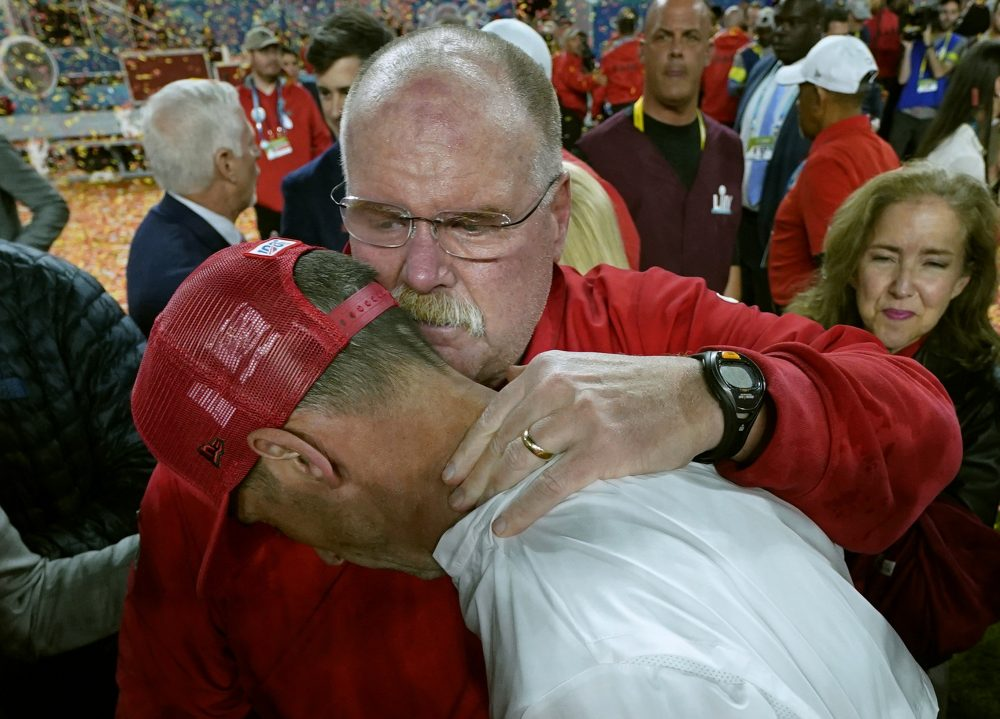 Kansas City Chiefs Coach Andy Reid hugs San Francisco 49ers Coach Kyle Shanahan after Super Bowl LIV on Sunday in MIami Gardens, Fla. Shanahan must recover after another Super Bowl collapse, (the first when he was an offense coordinator for the Atlanta Falcons) and more importantly, he must help his players recover.