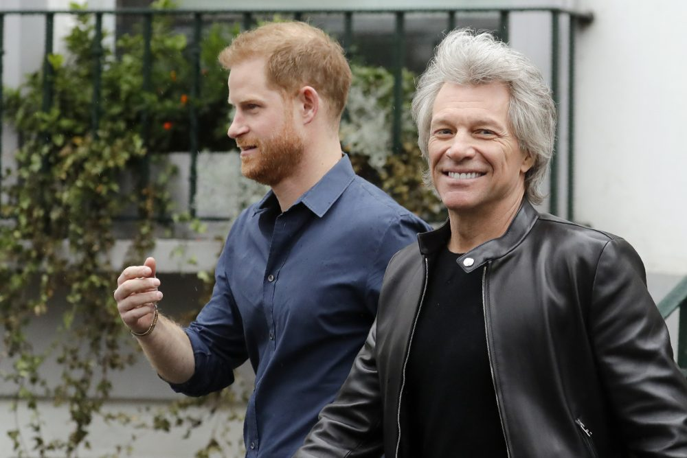 Prince Harry and Jon Bon Jovi leave Abbey Road Studios in London on Friday.