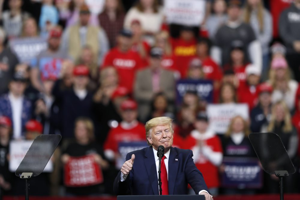 President Trump speaks during a campaign rally at Drake University on Thursday.