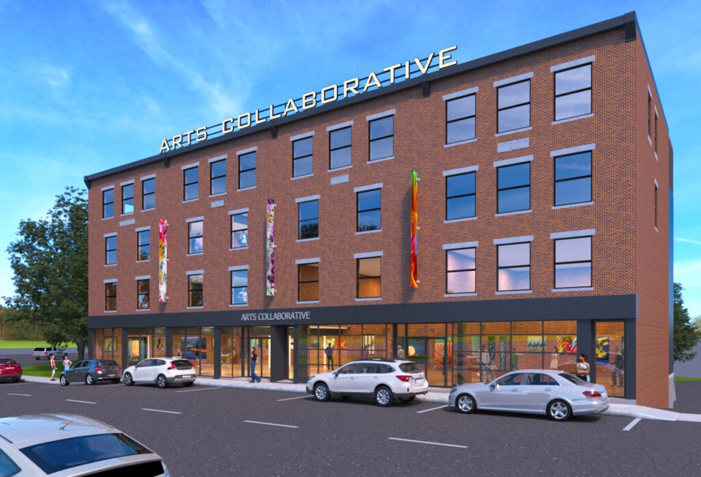 A rendering of the Arts Collaborative building that will combine the buildings at 14 and 20 Main Street by Architectural Image Solutions. The buildings are across from The Lockwood Hotel in Waterville. Peter and Paula Lunder, formerly of Waterville, have donated $3 million to the Colby College project. Ryan Senatore of Ryan Senatore Architecture is the architect.