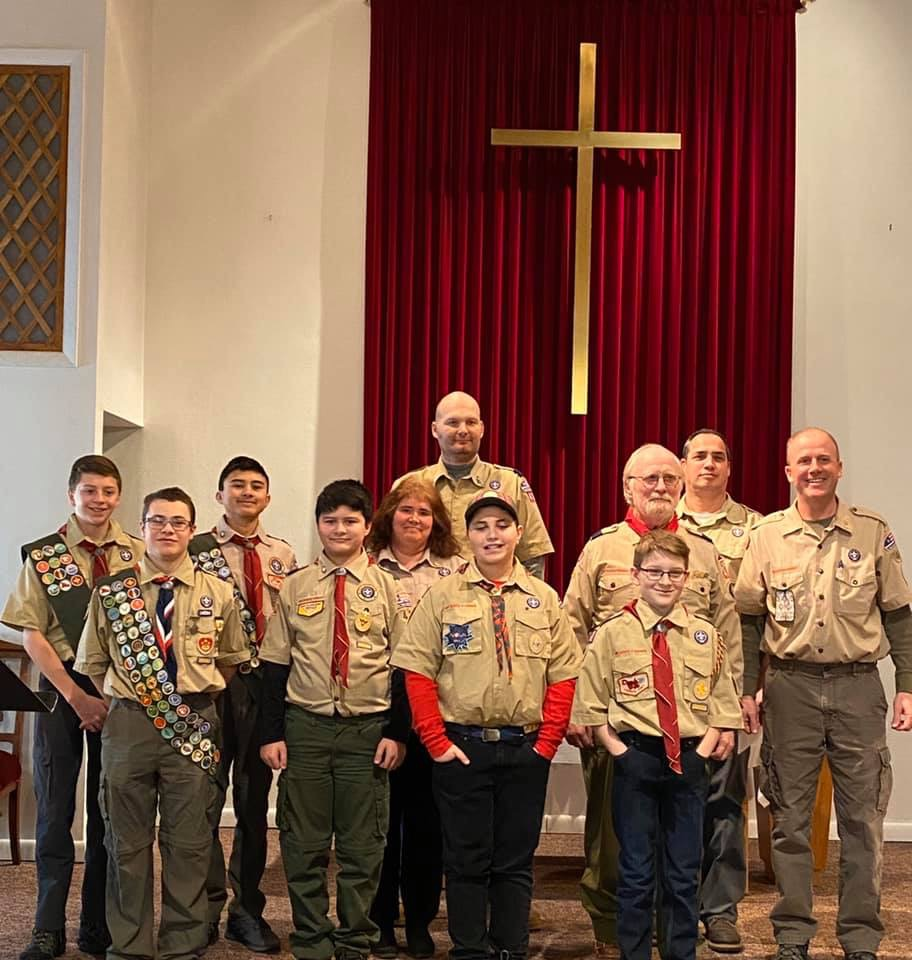 Boy Scout Troop 485 of Skowhegan  celebrated not only Scout Sunday on Feb. 9, but the 100th anniversary of Methodist Scouting with their charter organization the Centenary United Methodist Church in Skowhegan. In front, from left, are  Michael Connolly, Jeremiah Wiswall, Thomas Gage and Taylor Hayden. In the middle row, from left, are Connor Files, Noah Wiswall, Shelley Connolly, Gene Rouse and Darren Files. And in back, from left, are  Shawn Hayden and Donald Gage.