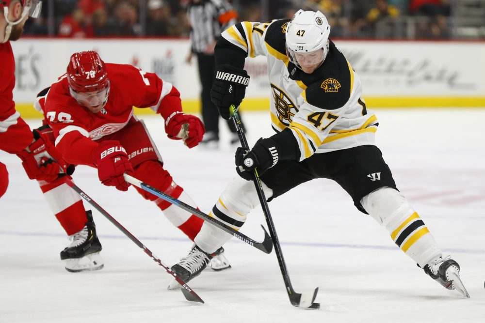 Red Wings forward Robby Fabbri hurt after being sandwiched by Bruins players