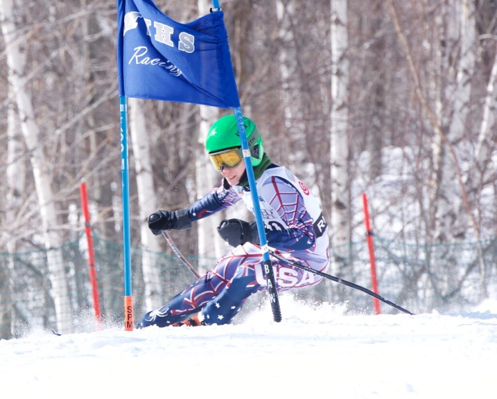 Rangeley's Charles Pye finished 13th in the giant slalom portion of the Class B state championships at Black Mountain in Rumford on Wednesday.