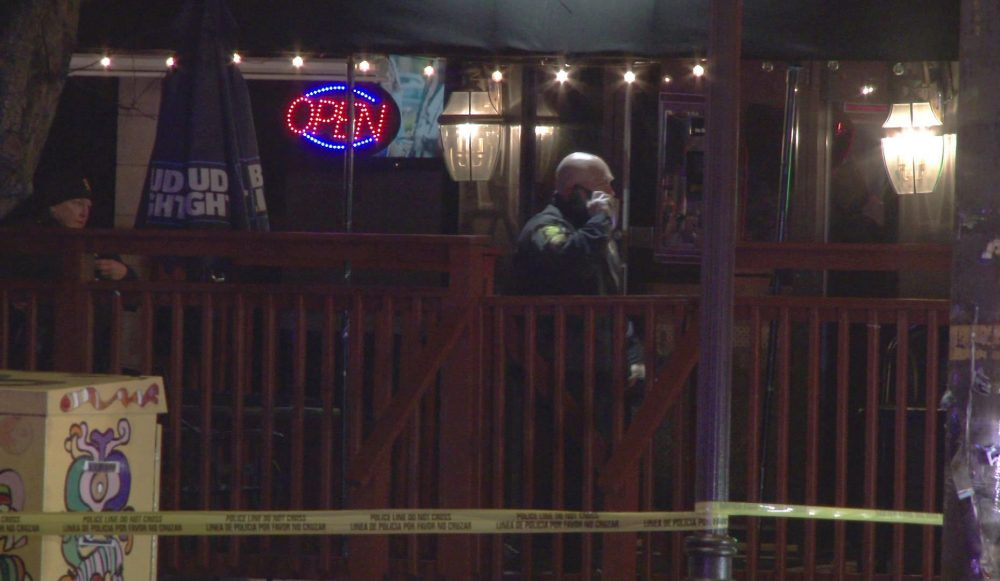 In this image taken from video, police investigate the scene of a shooting Sunday at the Majestic Lounge, in Hartford, Conn. Multiple people were shot at the Connecticut nightclub, police said early Sunday.
