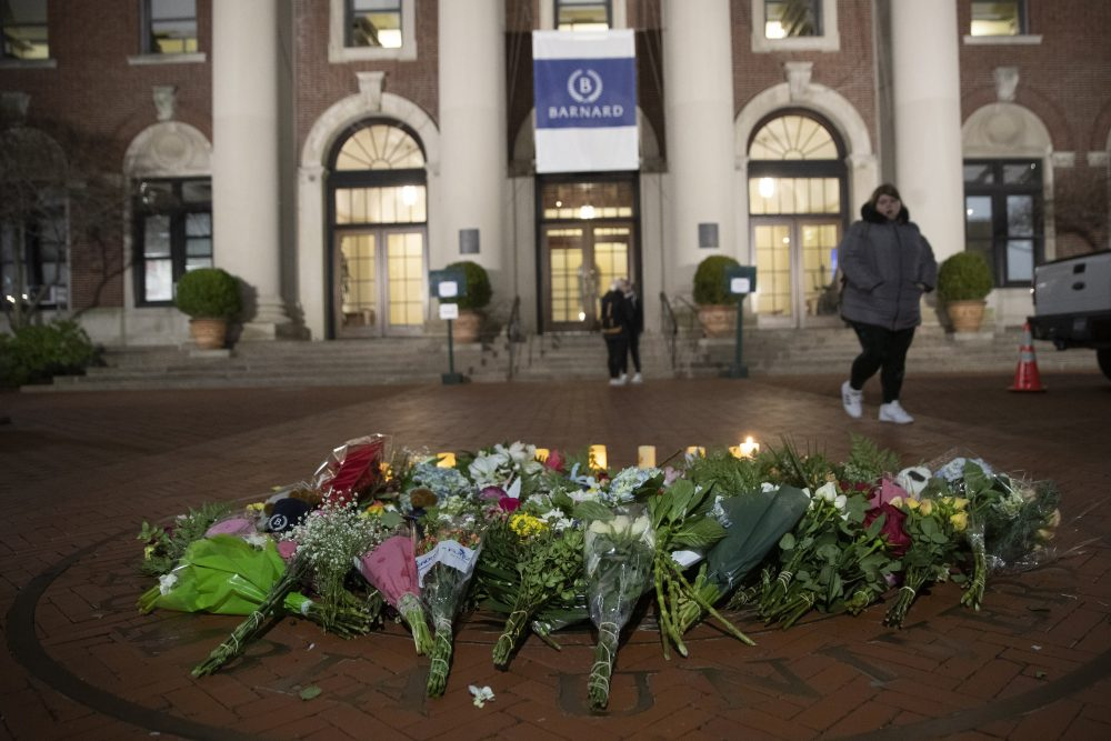 A makeshift memorial  for Tessa Majors inside the Barnard College campus in New York on Dec. 12.  Authorities say a 14-year-old was arrested Saturday in the fatal stabbing.
