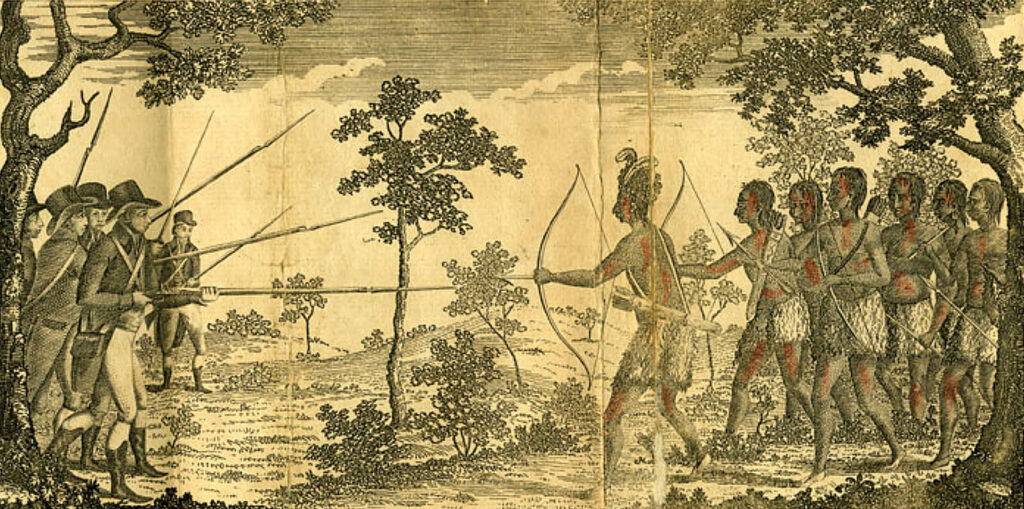 """Throughout British North America, the colonial era was marked by warfare between settlers and Native Americans, and Maine was one of the worst conflict zones, with a series of wars spanning nearly a century. This hand-colored engraving of an Anglo-Amerindian military engagement was the frontispiece of a leading early 19th century work, Henry Trumbull's """"History of the discovery of America."""" (Image courtesy of the Schingoethe Center of Aurora University)"""