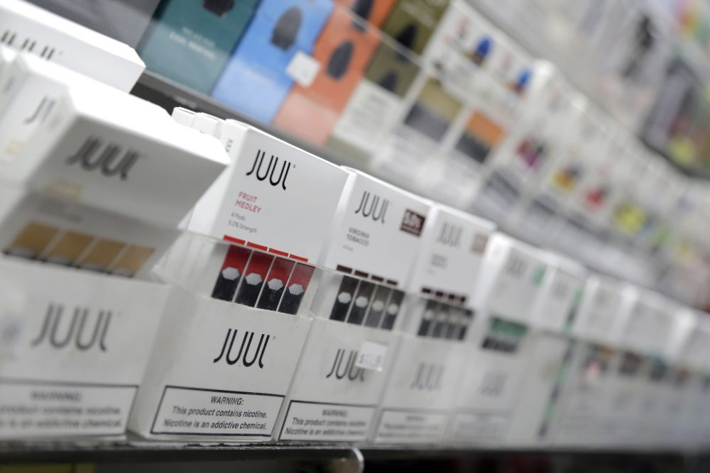 Juul products at a smoke shop in New York. Juul has stopped TV, print and digital advertising and eliminated most flavors in response to concerns by government officials and others.