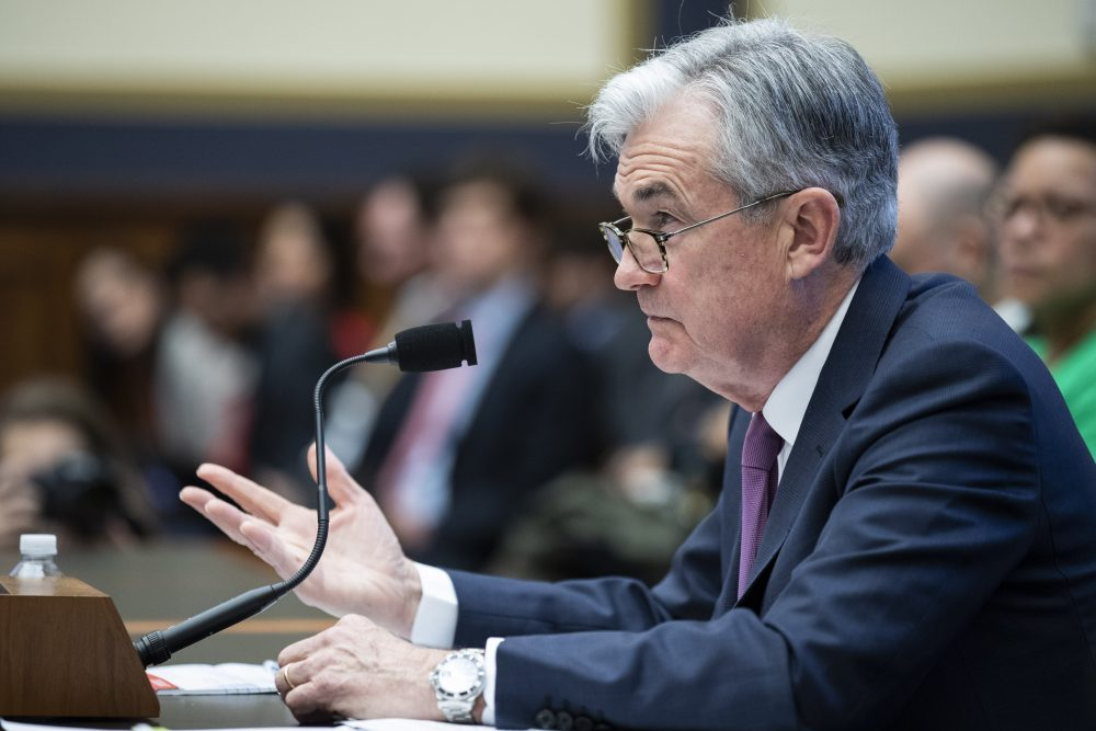 Federal Reserve Chairman Jerome Powell testifies before the House Committee on Financial Services on Tuesday in Washington. Along with interest rates, Powell also addressed the coronavirus, saying it'll likely effect the U.S. economy but didn't say how much.