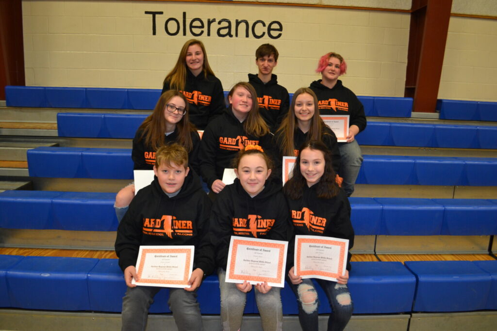 Gardiner Regional Middle School Falcons of the Month for November, December and January. Front, from left, are Landon Getchell, Camden Genest and Julie Folson. Second row from left are Mekenzie Soiett, Sophia Kearns and Lia Umland. Back from left are Taylor Takatsu, Ethan Arsenault and Seth Sears.