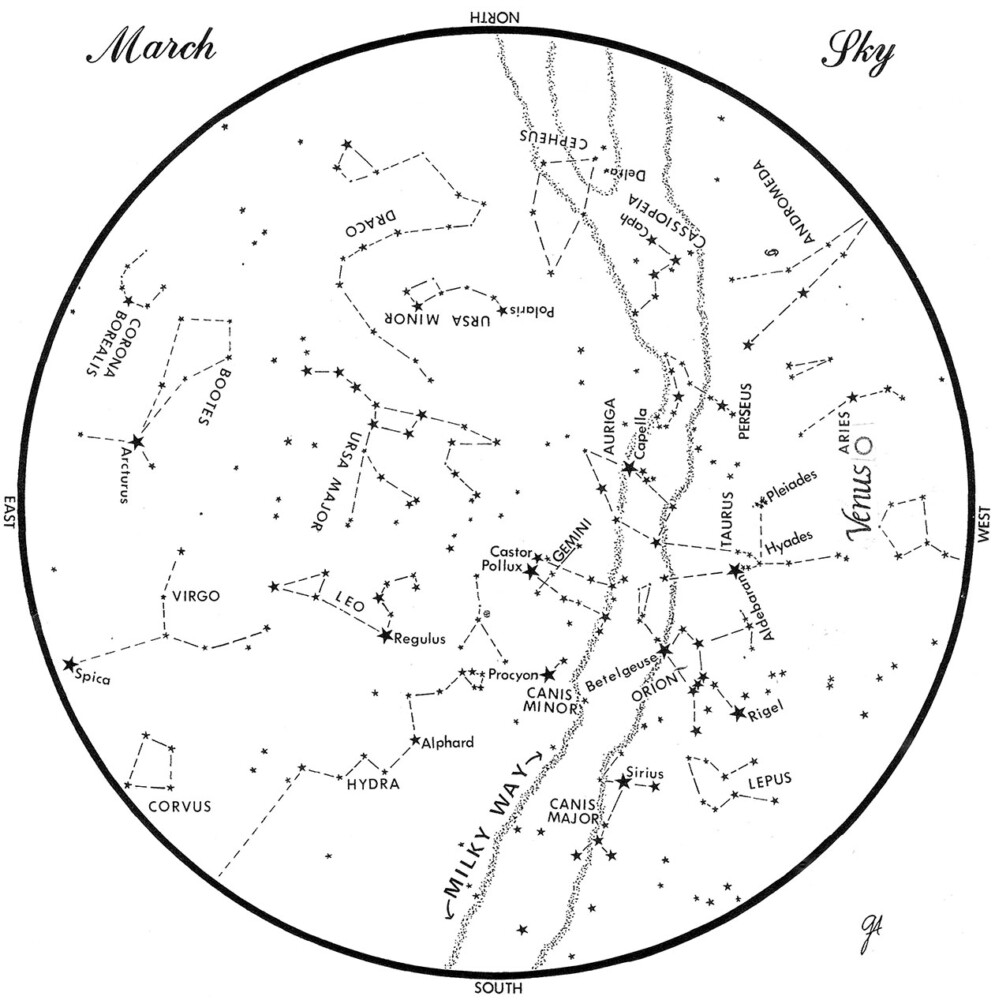 SKY GUIDE: This chart represents the sky as it appears over Maine during March. The stars are shown as they appear at 9:30 p.m. early in the month, at 9:30 p.m. at midmonth and at 8:30 p.m. at month's end. Venus is shown in its midmonth position. To use the map, hold it vertically and turn it so that the direction you are facing is at the bottom.