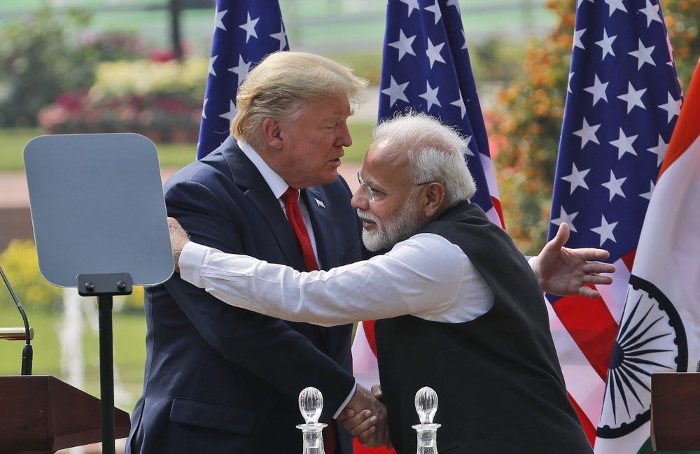 "President Trump and Indian Prime Minister Narendra Modi give a joint statement Tuesday in New Delhi, India. Trump said he had raised the issue of religious freedom with Modi and that the prime minister was ""incredible"" on the subject."
