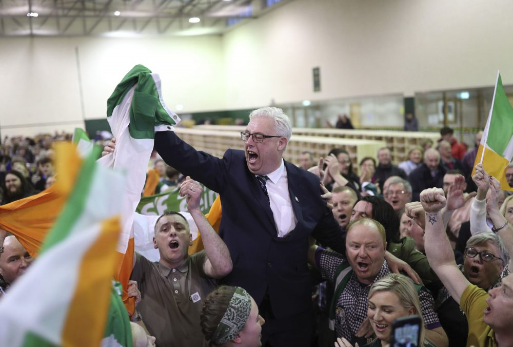 Thomas Gould of Sinn Fein tops the poll and is elected in Cork North Central, during the Irish General Election count at the Nemo Rangers GAA Club in Cork, Ireland.